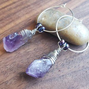 Healing Amethyst Silver Plated Round Hook Earrings